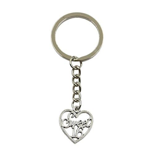 Hot Sales Heart Sweet 16 21x19mm Pendant Silver Keychain Key Ring Metal Key Chain Jewelry