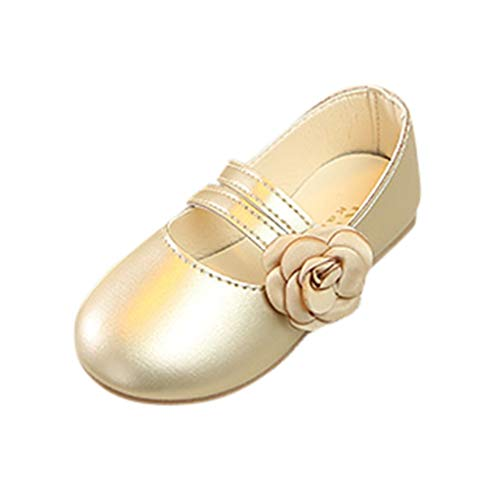 (Girl's Toddler/Little Kid/Big Kid Dress Mary Jane Ballerina Flat Shoes Single Princess Casual Shoes Sandals Gold)