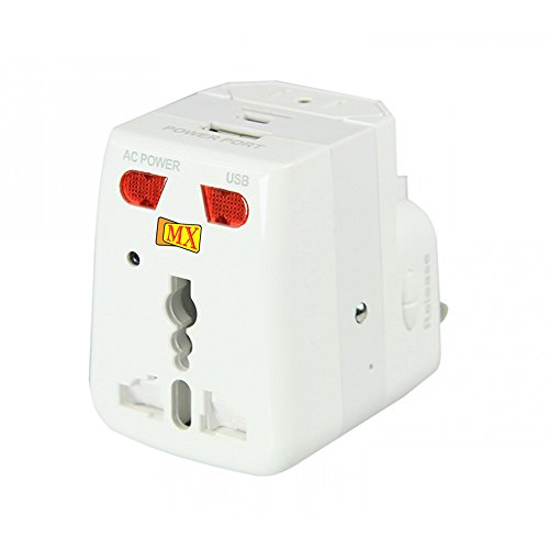 MX 2988 Universal Travel Adaptor with USB Charger, with Indicator and Fuse  Color May Vary