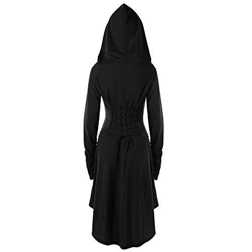 Veste Lacets Hiver Pull Conquror Pardessus Bouton Gothique Robe Costumes Longue Femmes Dames Vintage Haut Bas Steampunk Noir Capuche Manteau Rétro À Manteaux ulF15TKJ3c