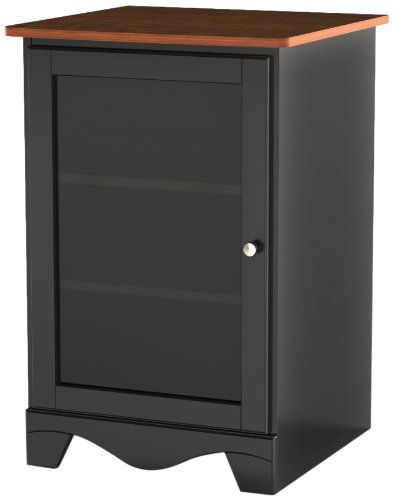 Pinnacle 1-Door Audio Tower 101915 from Nexera - Cherry and Black - Audio Video Cabinet