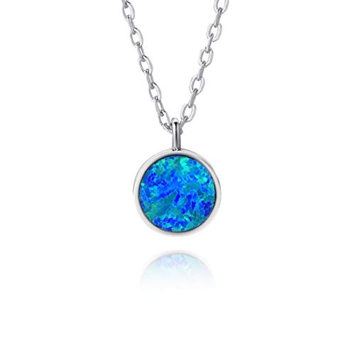 - Fancime Created Opal Geometric Pendant Necklace 925 Sterling Silver Long Chain Charm Jewelry for Women Girls 18
