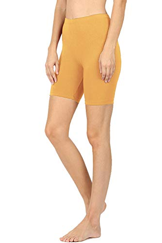 NioBe Clothing Womens Stretchy Cotton Spandex Biker Running Shorts Thigh Leggings (Medium, Ash Mustard)