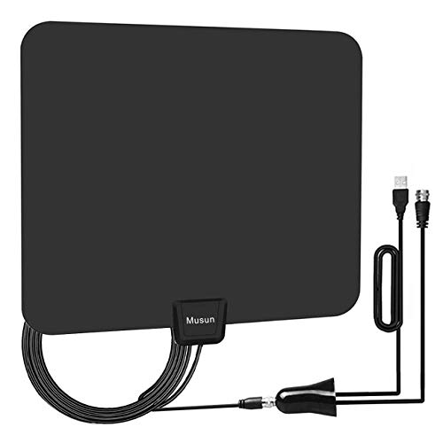 [Upgraded 2019] Digital Amplified HD TV Antenna 50-80 Mile Range - Support 4K 1080p and All TV's w/Detachable HDTV Amplifier Signal Booster - 13.5 Longer Coax Cable -