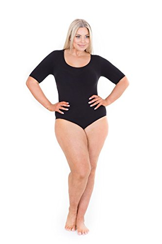 Sonsee Womens Plus Size Bodysuit – More Comfortable Shapewear for Women (Elbow Length - Black, Flawless 14-16)