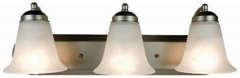 Marbleized Glass Shade 100 W Medium Polished Chrome Housing 3 Lamps TRANSGLOBE CB-3503 PC Bel-Air Contemporary Bath Bar Light