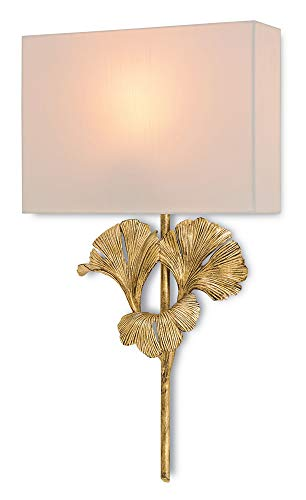 Currey and Company 5178 Gingko - One Light Wall Sconce, Chinois Antique Gold Leaf Finish with Off White Shantung Shade