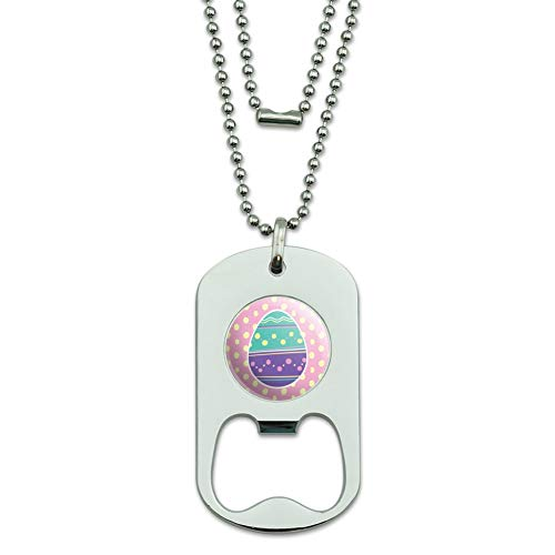 GRAPHICS & MORE Cute Easter Egg Turquoise Purple Polka Dots Military Dog Tag Bottle Opener Pendant