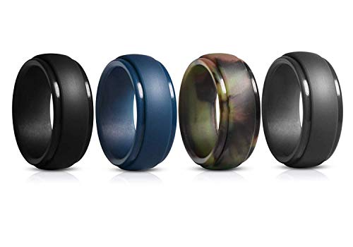 GEJULIC Silicone Wedding Ring for Men, Rubber Wedding Band… -