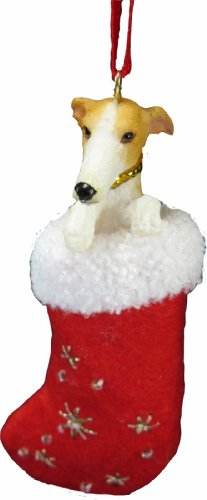 "Greyhound Christmas Stocking Ornament with ""Santa"