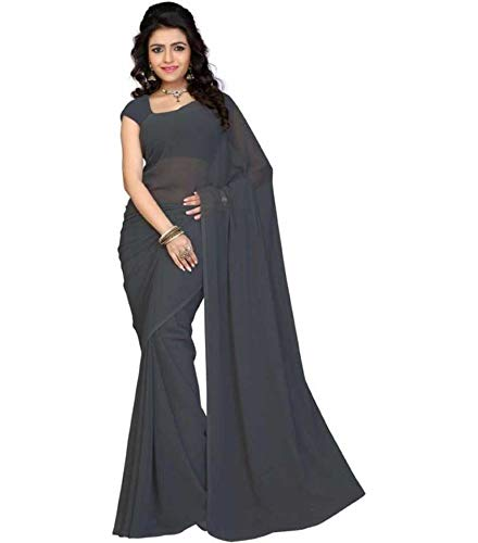 Kanha Women Georgette Saree Plain Pot Sari 6.30 Cut With Unstitched Running Blouse