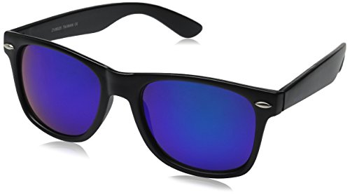 zeroUV ZV-8025-06 Retro Matte Black Horned Rim Flash Colored Lens Sunglasses, Black/Teal, - Lenses Sunglasses With Matte