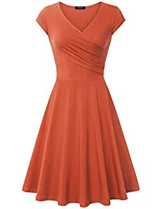 Lotusmile Elegant Dresses, Women Casual Dress A Line Cap Sleeve V Neck