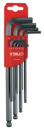 2 opinioni per INBUS® 70242 set chiavi a brugola / serie a testa sferica metrico 9pz. 1,5-10mm
