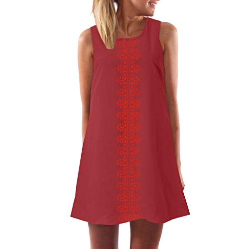 Aunimeifly Women's Summer Solid Color Printing Round Neck Sleeveless Loose Plus Soze Casual Straight Dress Red