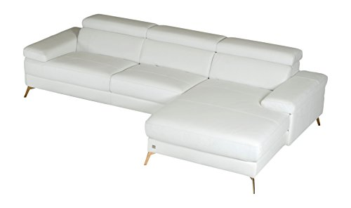 Limari Home LIM-70558 Drea Collection Modern Living Room and Den Contemporary Italian Leather Sectional Sofa, White