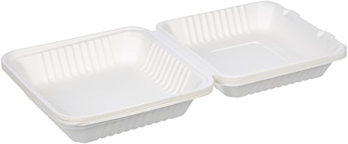 AmazonBasics 9'' x 9'' x 3.19'' Compostable Clamshell Take-Out Food Container, 300-Count by AmazonBasics (Image #3)