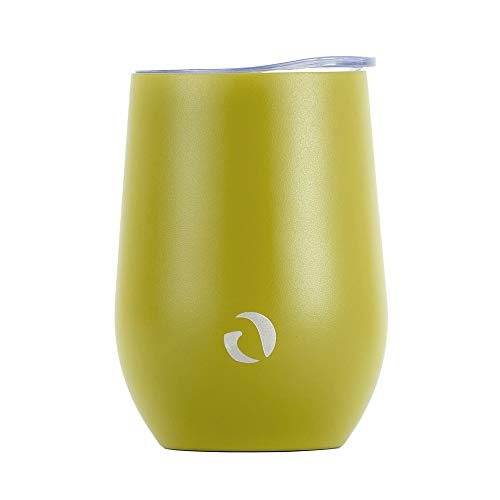 - Drinco - Stainless Steel Wine Tumbler | Double Walled Triple Vacuum Insulated Stemless Wine Glass with Splash Proof Lid For Hot & Cold Drinks | California | 12oz | (Single, Martini Green)