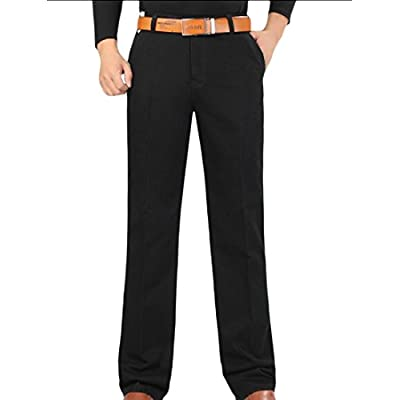 Cheap Abetteric Mens Solid-Colored Straight-Fit High Waist Pockets Pants