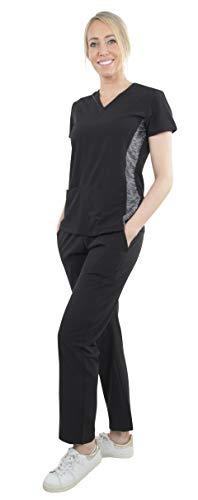 (Unisex Performance Stretch Medical Uniform, Five Pockets, V-Neck Scrubs Sets in Black Size L)