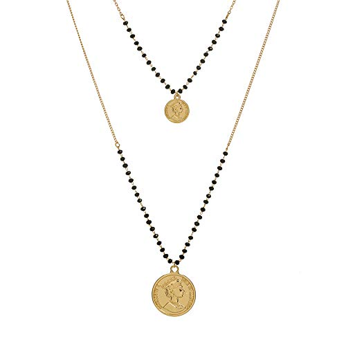 Monade Gold Layered Coin Pendant Adjustable Chain Necklaces/Sea Shell Pendant Chokers Necklaces Jewelry for Women and Girls ()