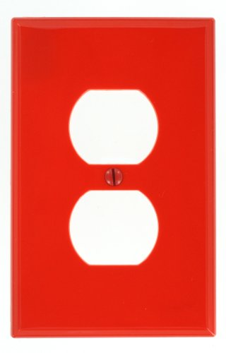 Duplex Receptacle Wallplate, Midway Size, Red (Red Standard Switch)