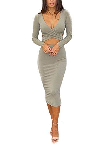Memorose Womens Sexy Long Sleeve Cut-Out Bandage Bodycon Clubwear Midi Dress Grey M