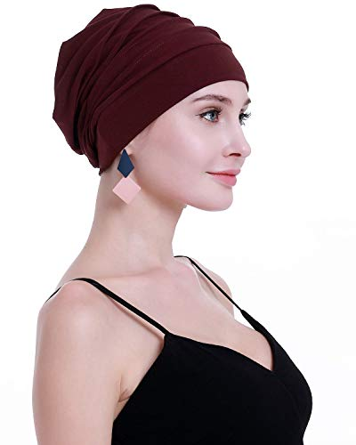 OSVYO Chemo Headwear for Women Hairs Loss Bamboo Cotton Lightweight Cancer Hats Wine (Best Wine For Weight Loss)