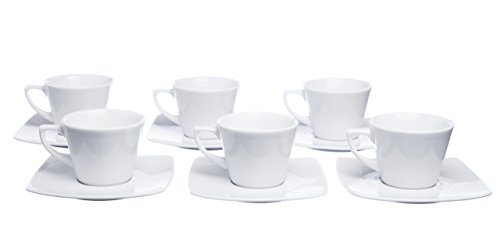 Germany Demitasse (Mokko Espresso Cups and Square Saucers, 2.5 Ounce, Set for 6, White Porcelain, Restaurant Grade Quality - for Specialty Coffee Drinks, Latte, Cafe Mocha       )