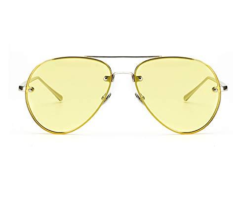 Classic Double Bridge Metal Aviator Sunglasses Retro UV400 Semi-rimless Glasses (Clear Tinted Yellow, ()