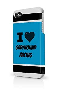 Greyhound Racing Blue iPhone 4 Case Fits iPhone 4 & iPhone 4S Full Print Plastic Snap On Case