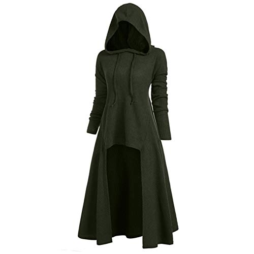 TIFENNY Womens Fashion Hooded Plus Size Vintage Cloak Coat High Low Sweater Long Sleeve Tops Dress Outcoat Green ()