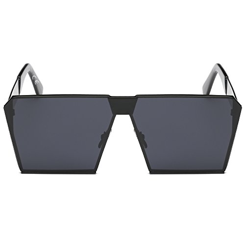 sol polarizada las gran cuadrado Gafas tamaño Negro mujeres de Espejo para de efecto lente reflectante amztm SOUcfyFy