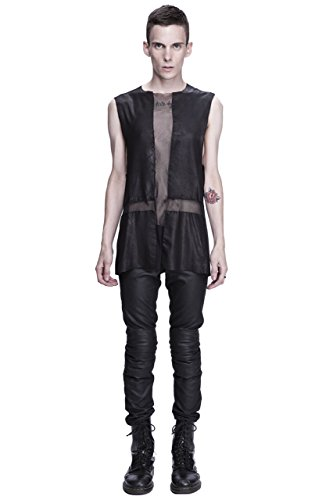 Unisex Leather & Mesh Inverted Cross Tank (Negative Space Cross)