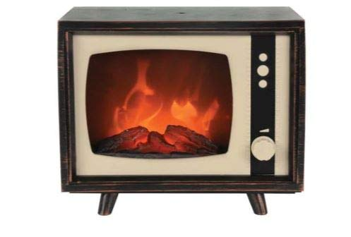 CSI Compact Retro Television with LED Moving Flame Effect, Hearth-Like-Fireplace-Glow with Electric Fireplace Indoors