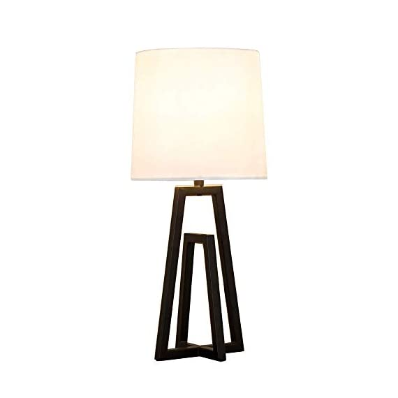 """POPILION Cozy Minimalist White TC Fabric Lamp Shades Bedroom Living Room Table Lamp, Simple Modern Bedside Desk Lamp with Hollowed Black Metal Base - 1.The size of the lamp:(Diameter7.09""""*Hight15.35"""").Using E26 bulb.The bulb is not included. 2.Modern and minimalist design black steel base can elevate the aesthetics of your home.When you light the lamp up,the white TC fabric lampshade can reduce the hard light and protect your eyes.It means that it provides a soft light for sleeping and creats a cozy feeling for home. 3.Safety Choice:This minimalist style lamp is easy to install and has passed authentication of UL safety system of European Union.You don't have to worry about the quality and the safety problem. - lamps, bedroom-decor, bedroom - 319QsoX0oNL. SS570  -"""