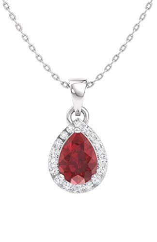 Designer I1 Necklace - Diamondere Natural and Certified Pear Ruby and Diamond Halo Drop Petite Necklace in 14k White Gold | 0.33 Carat Pendant with Chain
