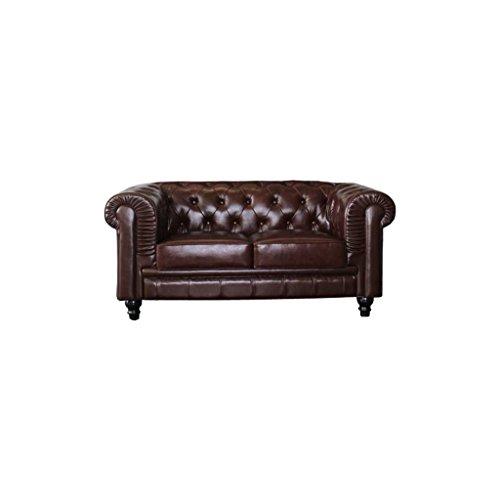 mueblespacio Sofa Chester 2 plazas Piel - MSD152423655 - Marrón