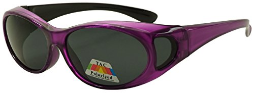 Fit Over Wrap Sunglasses w/ Super Dark Polarized Lens - Size Medium Wear Over (Purple, - Purple Dark Glasses