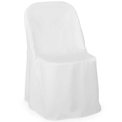 Lanns Linens 10 Elegant Wedding/Party Folding Chair Covers - Polyester Cloth - White Off White Fabric Seat