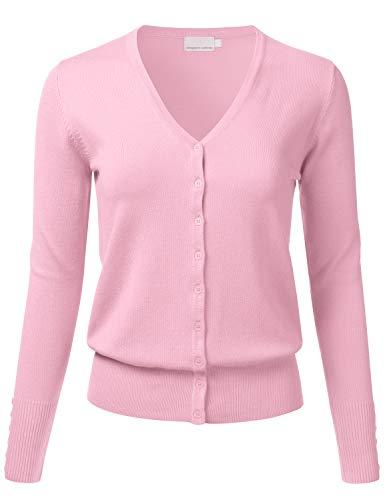 21ded8d119 FLORIA Women s Button Down V-Neck Long Sleeve Soft Knit Cardigan Sweater  BABYPINK M
