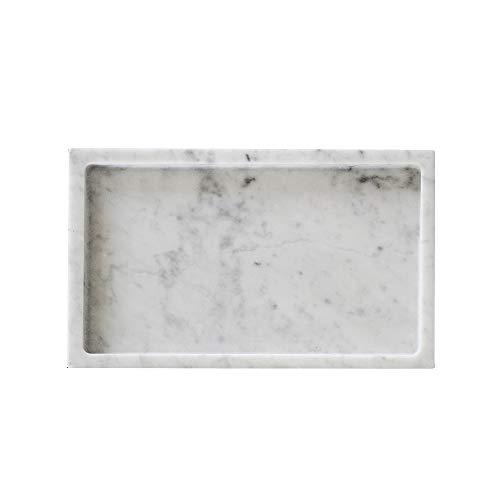 MEDA BLOOMS White Rectangular Marble Tabletop Tray, Vanity Kitchen Bathroom Storage Organizer ()