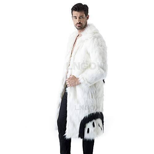 LNGOW Faux Fur Outerwear Men Fluffy Fashion Coat Winter Warm Overcoat Long Sleeve Jacket (White-Black,M)