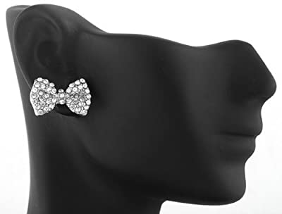 2 Pairs of Silvertone with Clear Iced Out Mini Style Bow Stud Earrings (R-2231)