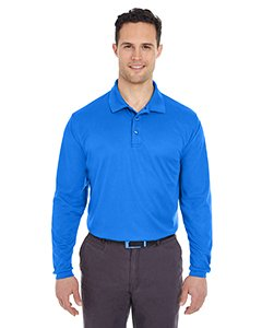 Ultraclub Adult Cool & Dry Long-Sleeve Mesh Piqué Polo Shirt, Royal, - Pique Polyester Mesh