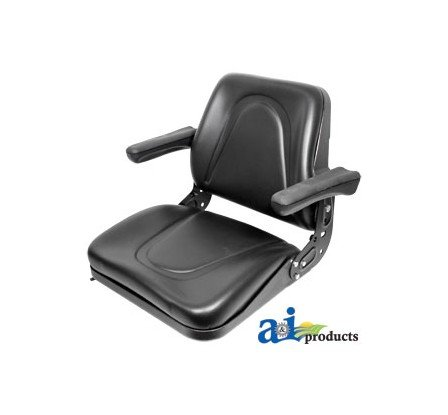 T500BL Seat, Universal w/Slide Track & Flip-Up Armrests, Black Vinyl Fits:Bobcat