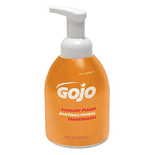 - GOJO Luxury Foam Antibacterial Handwash, Fresh Fruit Fragrance, 18 fl oz Hand Soap Counter Top Pump Bottles (Case of 4) - 5762-04