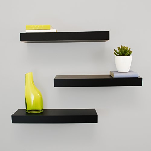 Kiera Grace Maine Wall Shelf, 16-Inch, Pack of 3, Black