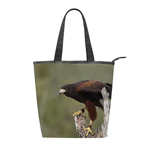 Fashion Women's Multi-pocket Canvas Handbags Animal Harris Hawk Birds Of Prey Shoulder Bags Totes Purses