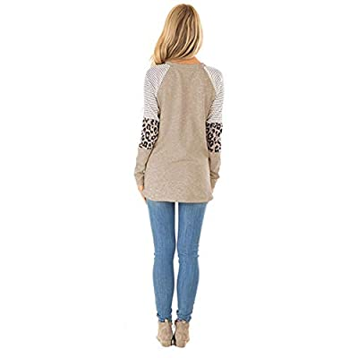 HARHAY Women's Leopard Print Color Block Tunic Round Neck Long Sleeve Shirts Striped Causal Blouses Tops at Women's Clothing store